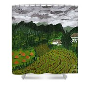 Vineyard And Haystacks Under Stormy Sky Shower Curtain by Vicki Maheu