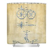 Vintage 1866 Velocipede Bicycle Patent Artwork Shower Curtain by Nikki Marie Smith