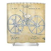 Vintage 1869 Velocipede Bicycle Patent Artwork Shower Curtain by Nikki Marie Smith