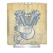 Vintage 1923 Harley Engine Patent Artwork Shower Curtain by Nikki Marie Smith
