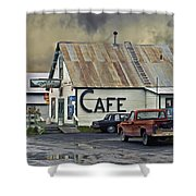 Vintage Alaska Cafe Shower Curtain by Ron Day