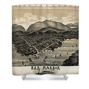 Vintage Bar Harbor Map Shower Curtain by Edward Fielding