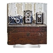 Vintage Cameras At Warehouse 54 Shower Curtain by Toni Hopper