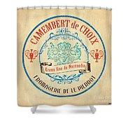 Vintage Cheese Label 4 Shower Curtain by Debbie DeWitt