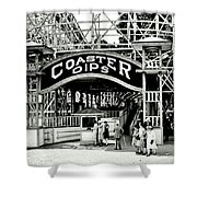 Vintage Coaster Shower Curtain by Benjamin Yeager