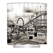 Vintage Funtown Shower Curtain by John Rizzuto