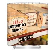 Vintage Jell-O Butterscotch Pudding Shower Curtain by Edward Fielding