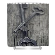 Vintage Keys Shower Curtain by Priska Wettstein
