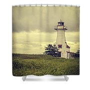 Vintage Lighthouse PEI Shower Curtain by Edward Fielding