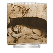 Vintage Lion Of Lucerne Shower Curtain by Dan Sproul