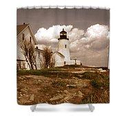 Vintage Pemaquid Point Lighthose Shower Curtain by Skip Willits