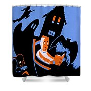 Vintage Poster - Reading - October Shower Curtain by Benjamin Yeager