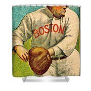 Vintage Red Sox Shower Curtain by Benjamin Yeager