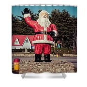 Vintage Santa Claus Christmas Card Shower Curtain by Edward Fielding