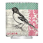 Vintage Songbird 2 Shower Curtain by Debbie DeWitt