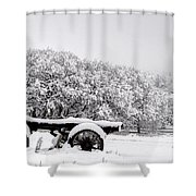 Vintage Wagon In Snow And Fog Filled Valley Shower Curtain by Gary Whitton