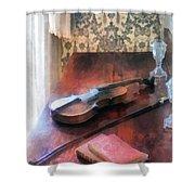 Violin On Credenza Shower Curtain by Susan Savad