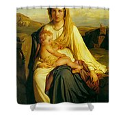 Virgin And Child Shower Curtain by Paul  Delaroche