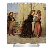 Visiting The Wet Nurse Shower Curtain by Silvestro Lega
