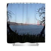 Vista To The San Francisco Golden Gate Bridge - 5d20983 Shower Curtain by Wingsdomain Art and Photography