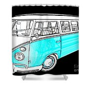 Volkswagen Turquoise Shower Curtain by Cheryl Young