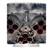 Vostok Rocket Engine Shower Curtain by Stelios Kleanthous