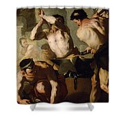 Vulcans Forge Shower Curtain by Luca Giordano