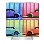 Vw Beetle Pop Art Quad Shower Curtain by Laura Fasulo