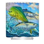 Wahoo Mahi Mahi And Tuna Shower Curtain by Terry  Fox