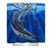 Wahoo spear Shower Curtain by Carey Chen