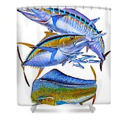 Wahoo Tuna Dolphin Shower Curtain by Carey Chen