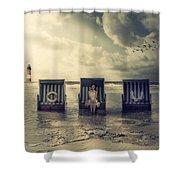 Waiting For The Flood Shower Curtain by Joana Kruse