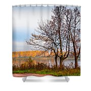 Walk Along The River Bank Shower Curtain by Jenny Rainbow