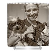 Walkies Sepia Shower Curtain by Steve Harrington