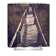 Walkway Through The Reeds Appalachian trail Shower Curtain by Edward Fielding