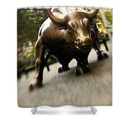 Wall Street Bull Shower Curtain by Tony Cordoza