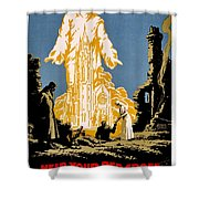 War Poster - Ww1 - Christians Support Red Cross Shower Curtain by Benjamin Yeager