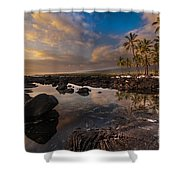Warm Reflected Place Of Refuge Skies Shower Curtain by Mike Reid