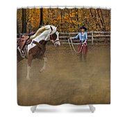 Warming Up Shower Curtain by Susan Candelario
