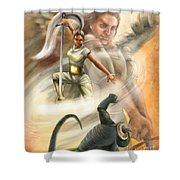 Warrior Shower Curtain by Tamer and Cindy Elsharouni