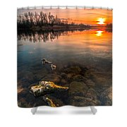 Watching Sunset Shower Curtain by Davorin Mance