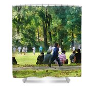 Watching The Soccer Game Shower Curtain by Susan Savad