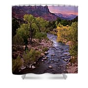 Watchman  Tower Zion Sunrise Shower Curtain by Dave Dilli