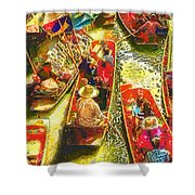 Water Market Shower Curtain by Mo T