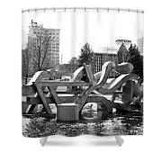 Water Sculpture In Spokane Shower Curtain by Carol Groenen