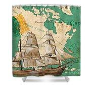 Watercolor Map 2 Shower Curtain by Debbie DeWitt