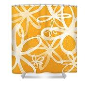 Waterflowers- Orange And White Shower Curtain by Linda Woods