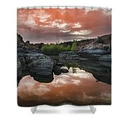 Watson Lake In Pink Shower Curtain by Dave Dilli