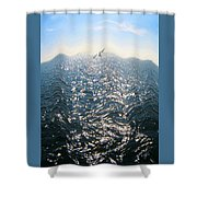 Wave Shower Curtain by Ben and Raisa Gertsberg