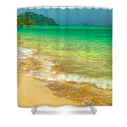 Waves Shower Curtain by Adrian Evans